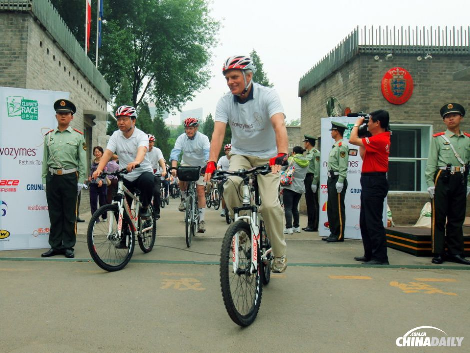 The Danish ambassador leads the bicycle army.